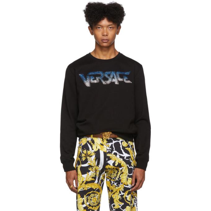 Photo: Versace Black Rhinestone Logo Sweatshirt
