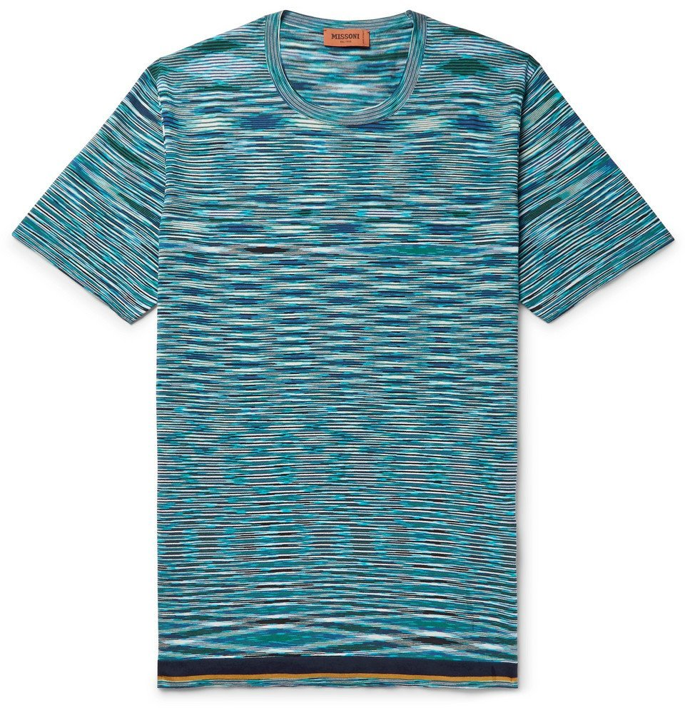 Photo: Missoni - Space-Dyed Knitted Cotton T-Shirt - Blue