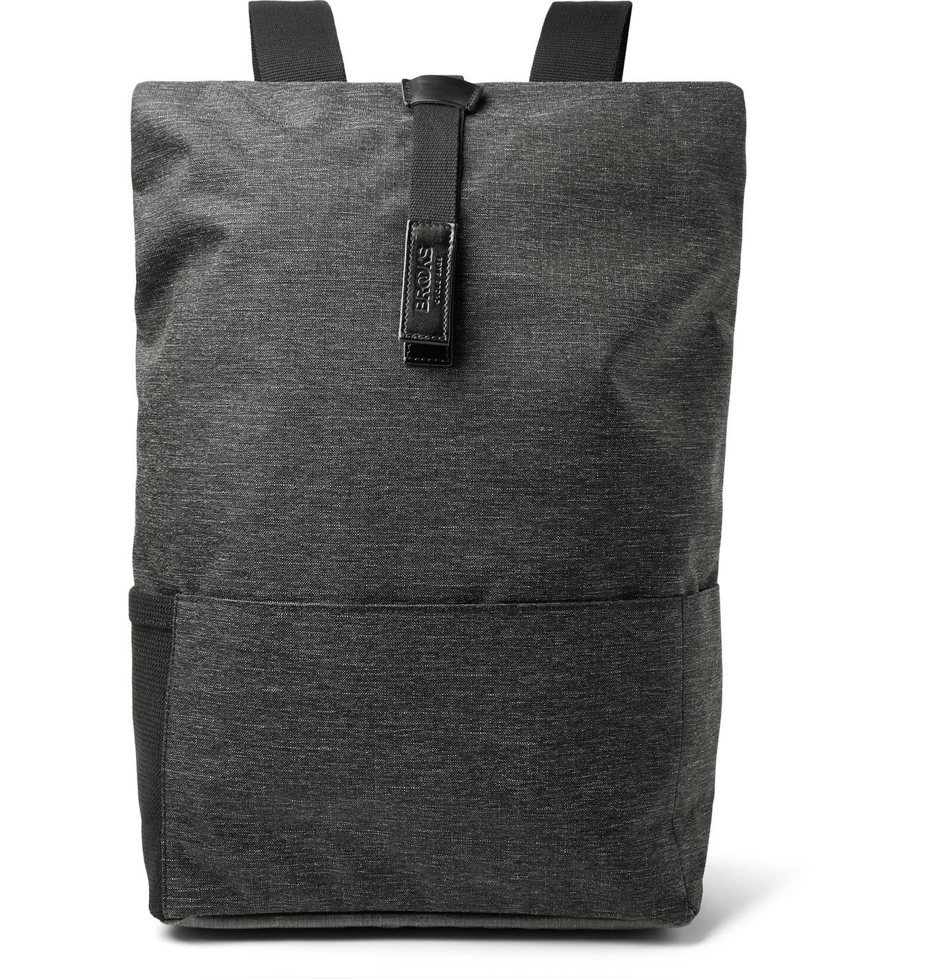 Photo: Brooks England - Pickwick Large Leather-Trimmed Mélange Tex Nylon Backpack - Gray