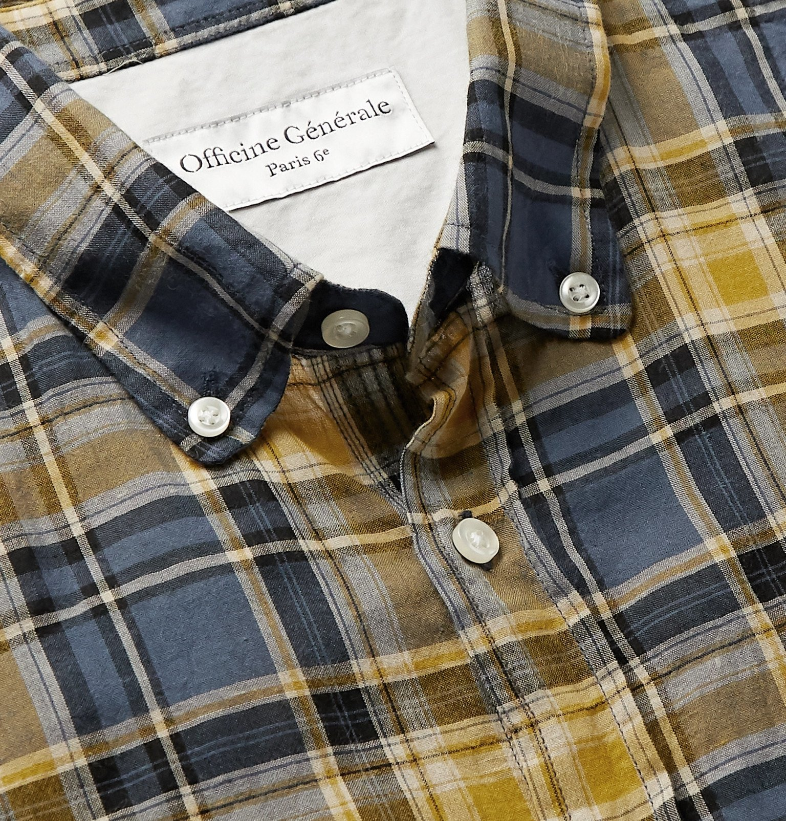 Officine Generale - Button-Down Collar Checked Cotton-Blend Shirt - Yellow