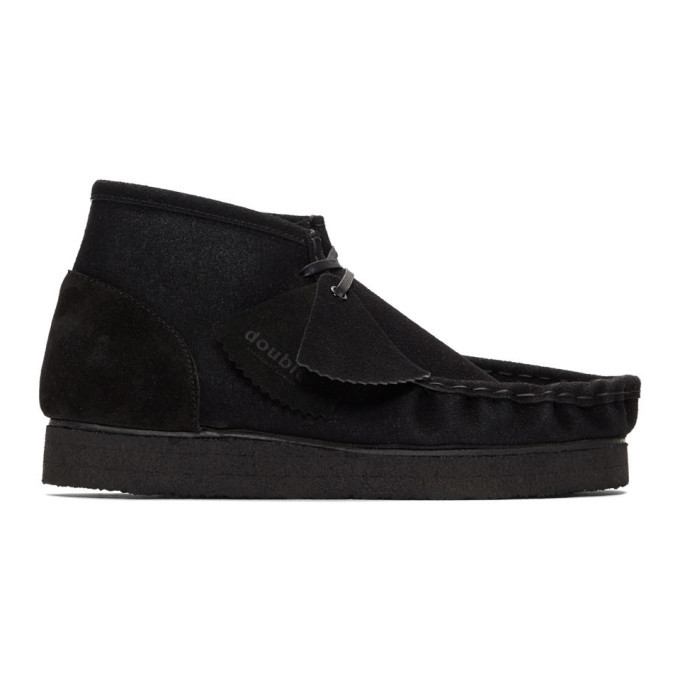 Photo: Doublet Black Leather Flocky Short Boots