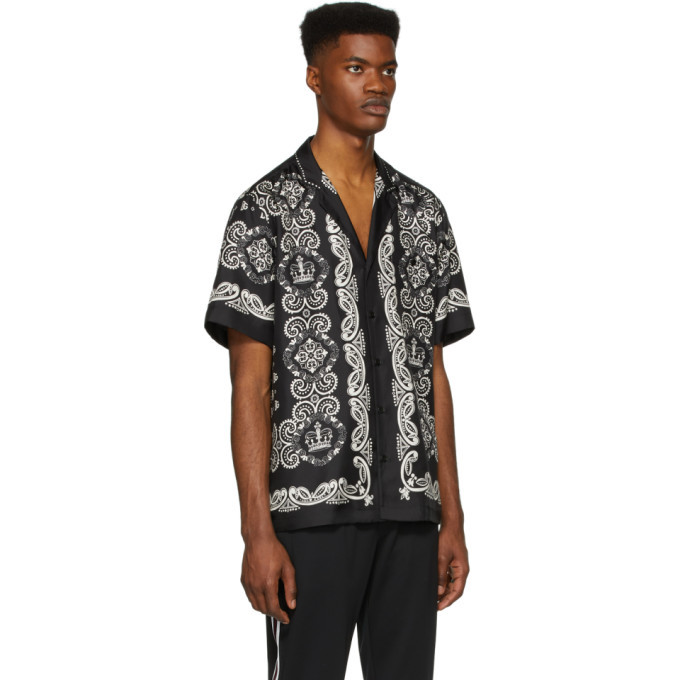 Dolce and Gabbana Black and White Silk Hawaiian Shirt
