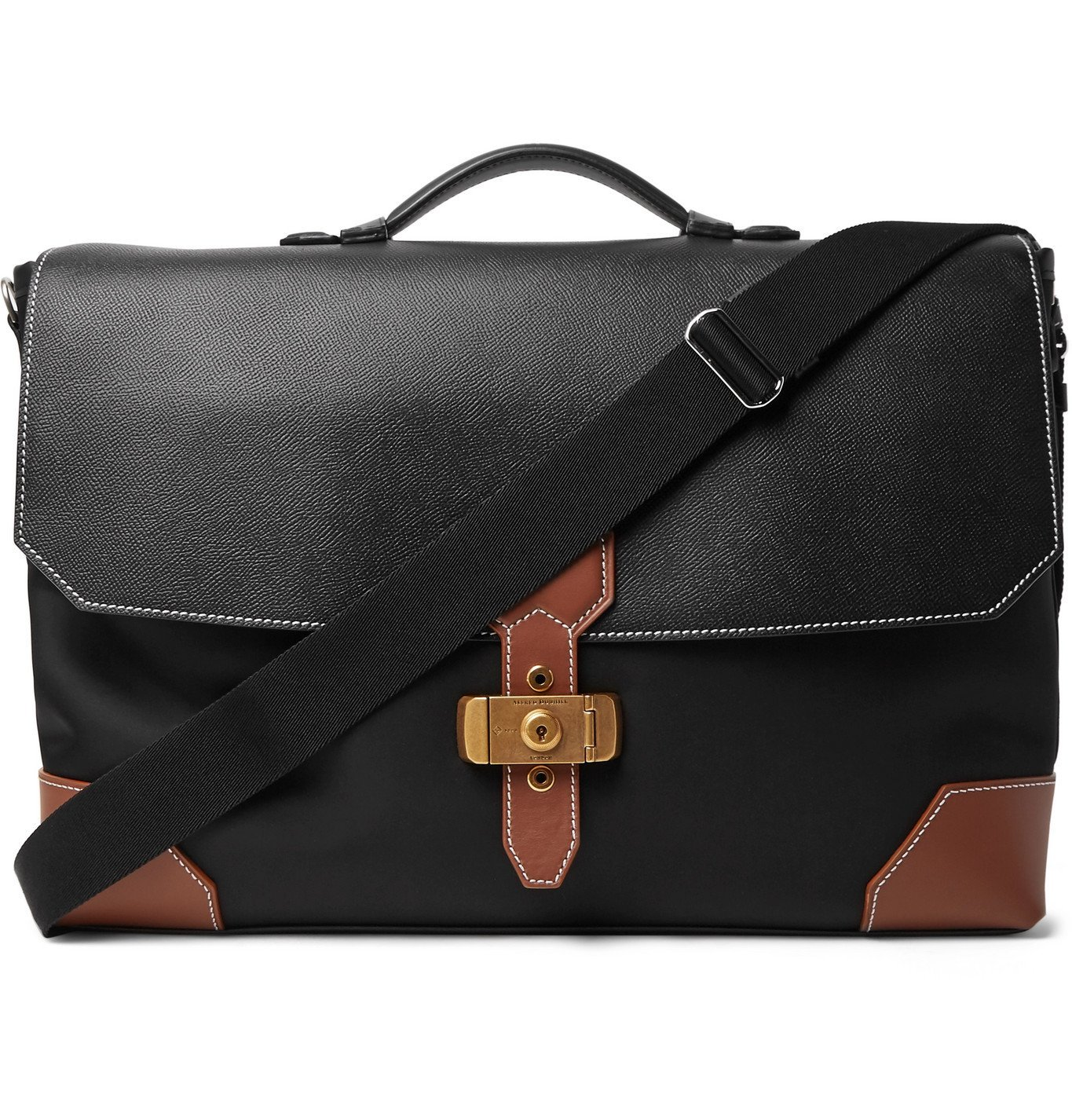 Dunhill - Nylon and Full-Grain Leather Briefcase - Black