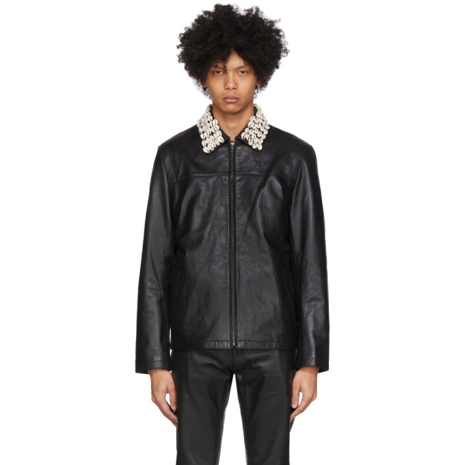 Photo: Eastwood Danso SSENSE Exclusive Black Leather Cowrie Shell Jacket
