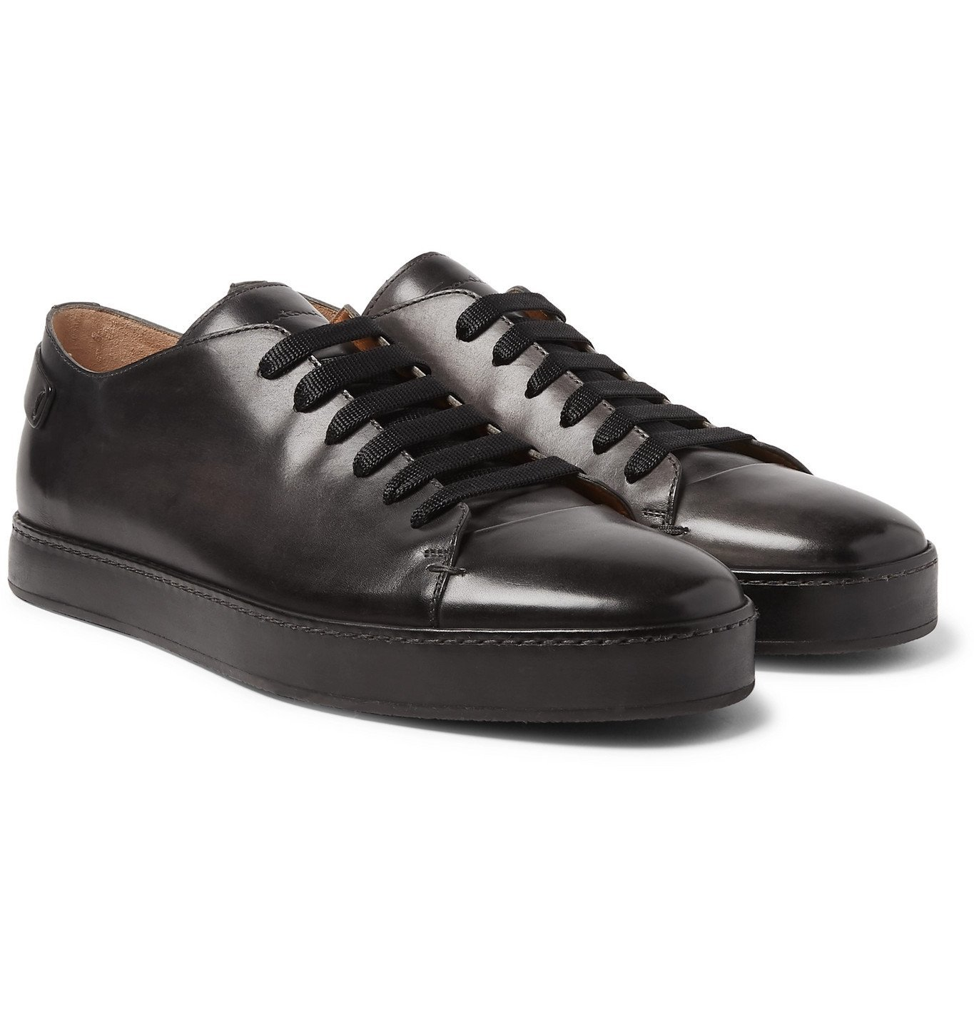 Photo: Santoni - Burnished-Leather Sneakers - Gray