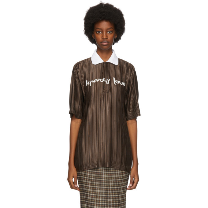 Photo: Burberry Brown Oversized Plisse Polo