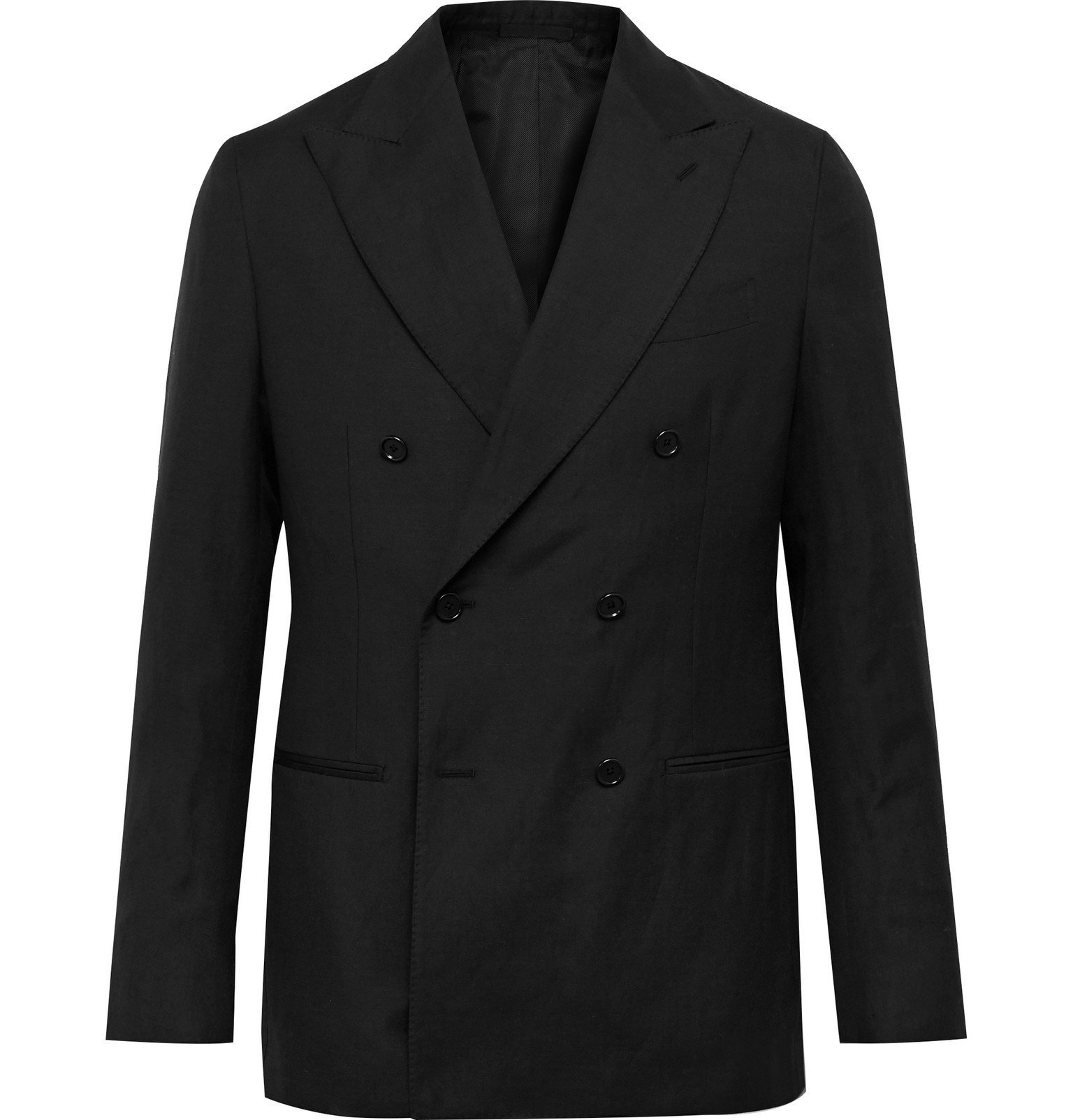 Photo: De Petrillo - Slim-Fit Double-Breasted Wool and Linen-Blend Suit Jacket - Black