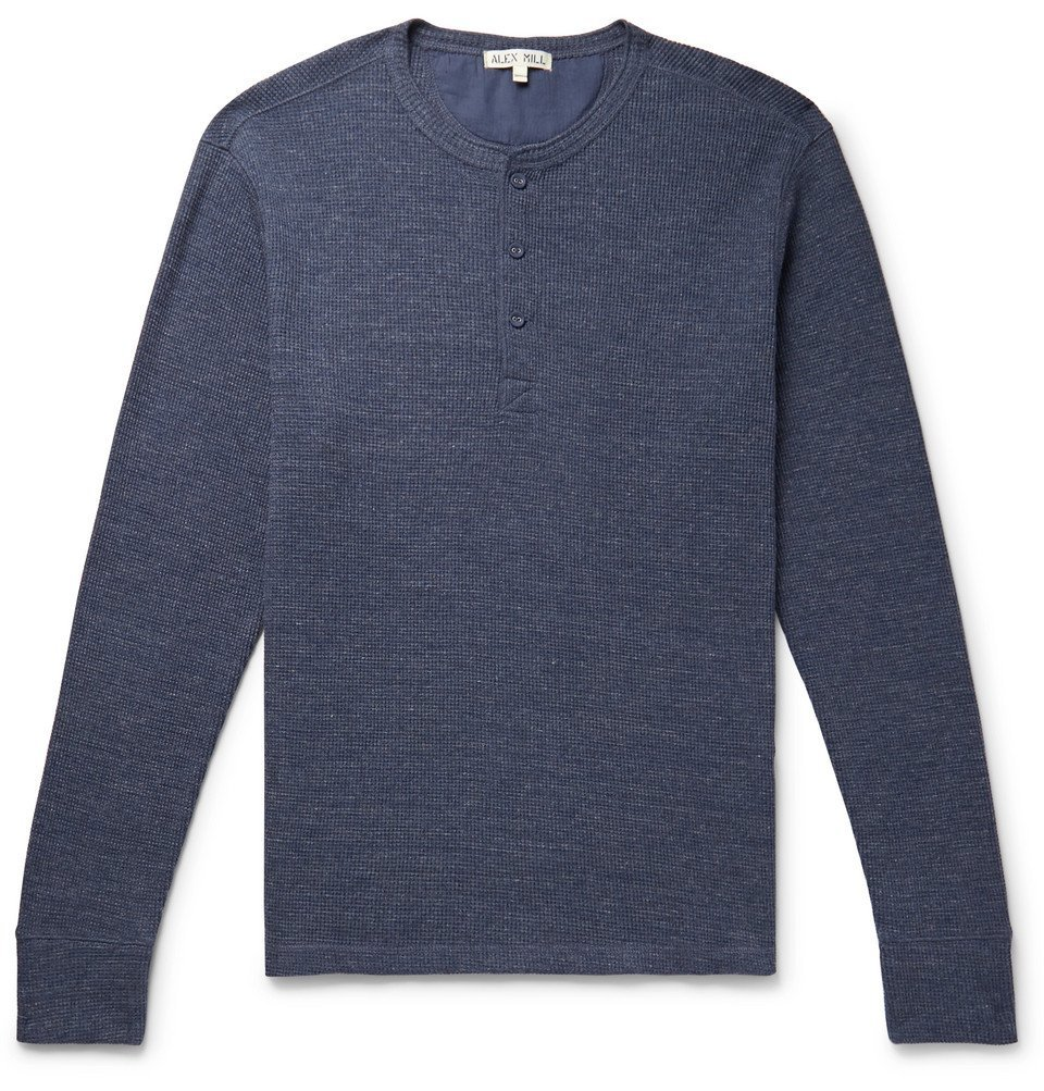 Photo: Alex Mill - Waffle-Knit Cotton-Jersey Henley T-Shirt - Navy