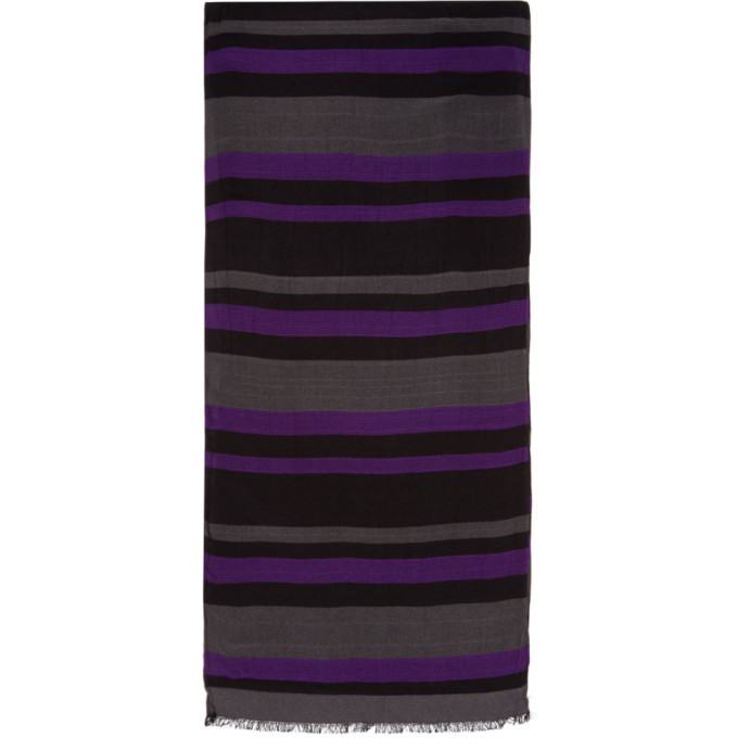 Photo: PS by Paul Smith Purple and Grey Stripe Scarf