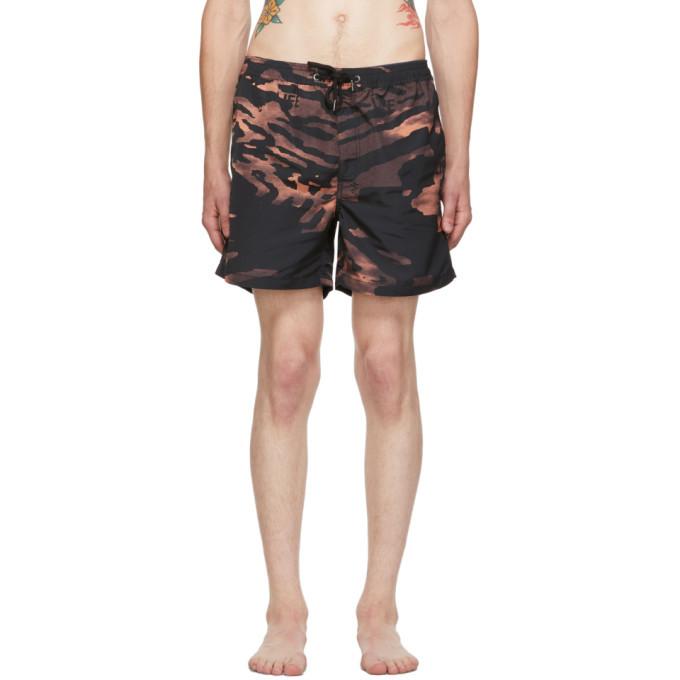 Photo: Ksubi Black and Orange Life Swim Shorts