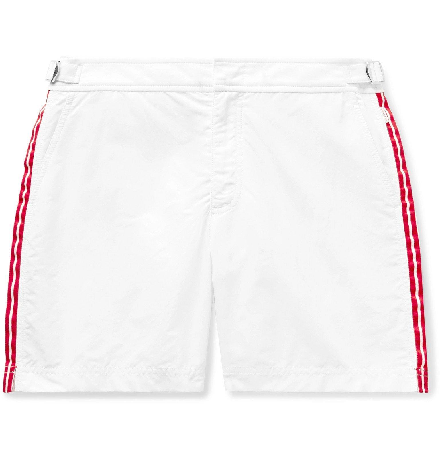 Photo: Orlebar Brown - Bulldog Mid-Length Grosgrain-Trimmed Swim Shorts - White