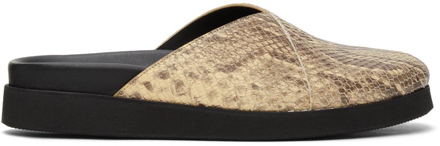 Photo: 4SDESIGNS Beige Python Sabot Sandals
