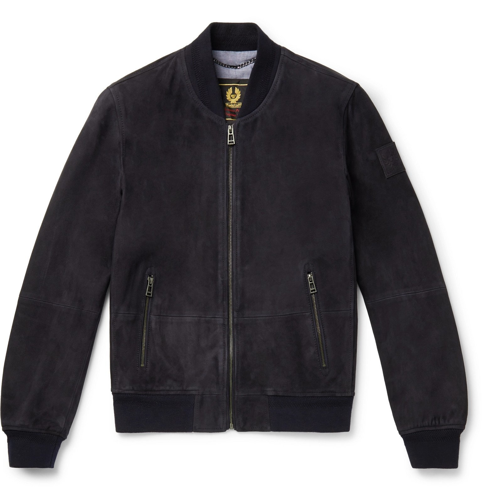 Photo: Belstaff - Harbour Suede Bomber Jacket - Blue
