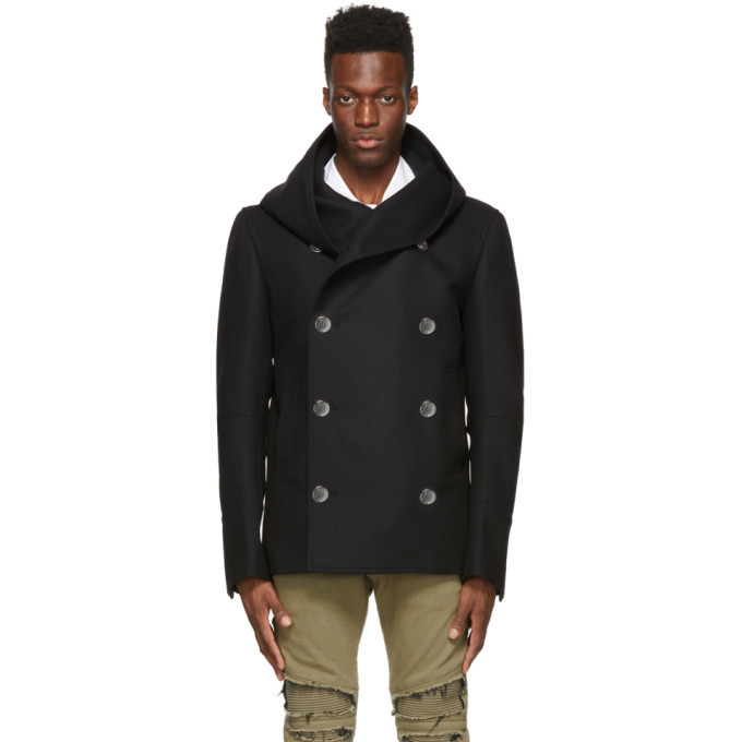 Photo: Balmain Black Wool Hooded Pea Coat