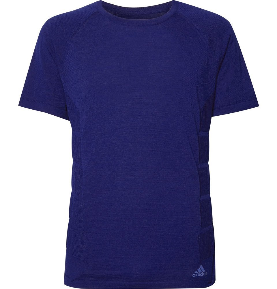 Photo: Adidas Sport - Primeknit Wool-Blend T-Shirt - Blue