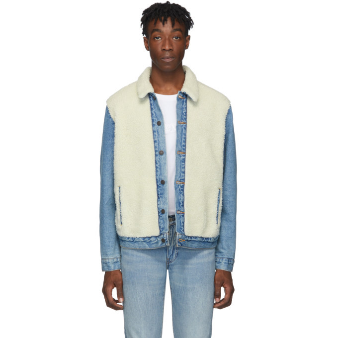 Photo: Levis Blue and Off-White Sherpa Panel Trucker Jacket