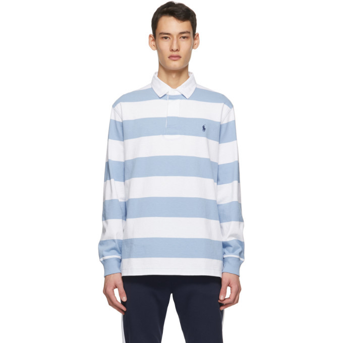 Photo: Polo Ralph Lauren White and Blue The Iconic Rugby Long Sleeve Polo