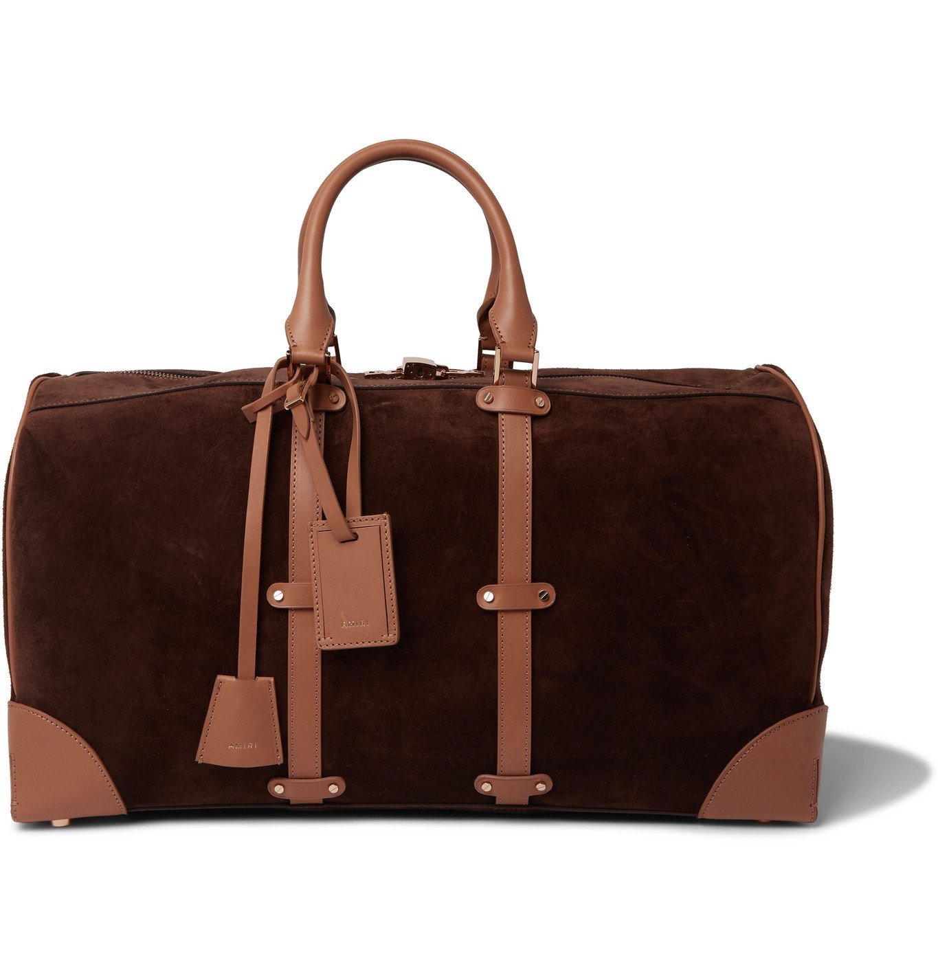 Photo: AMIRI - Faux Suede and Leather Holdall - Brown