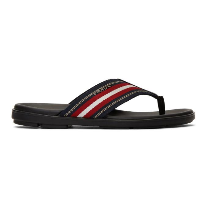 Photo: Prada Black and Red Ribbon Stripes Sandals