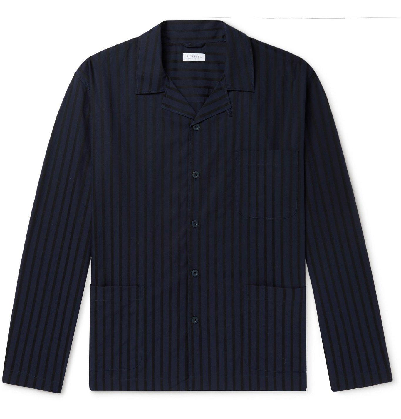 Sunspel - Camp-Collar Cotton-Poplin Pyjama Shirt - Blue