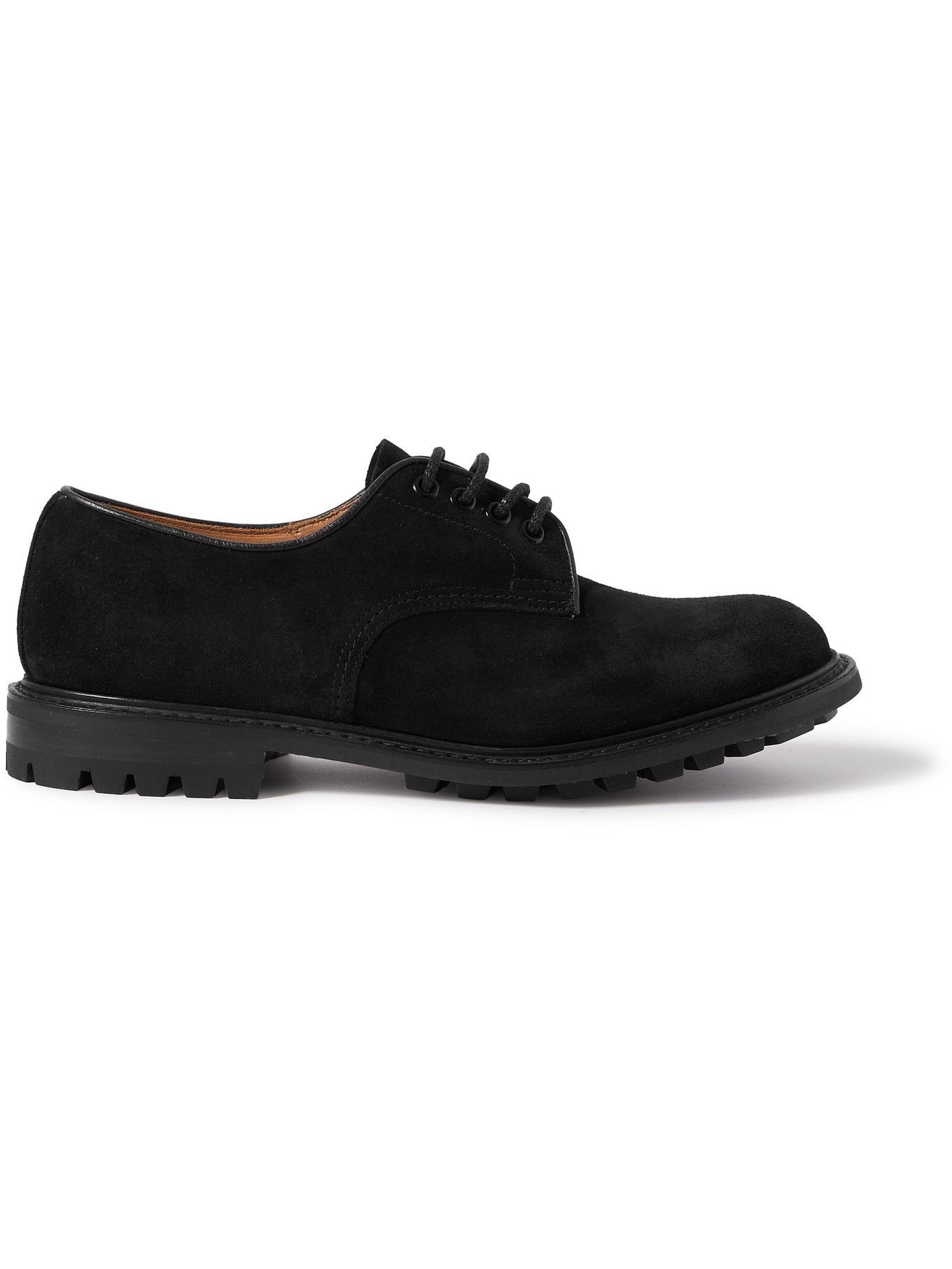 Photo: Tricker's - Daniel Leather-Trimmed Suede Derby Shoes - Black