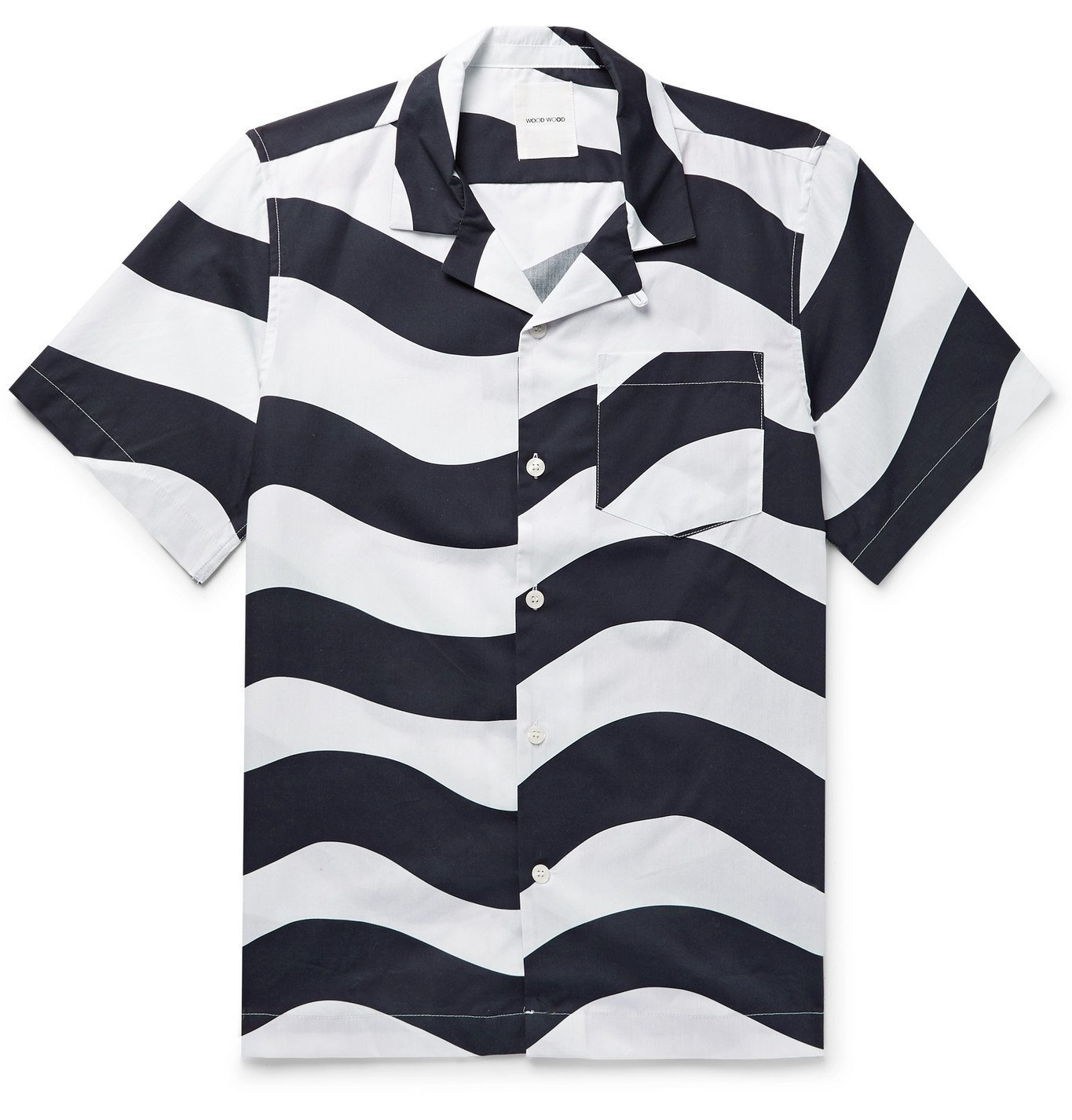 Photo: Wood Wood - Brandon Camp-Collar Striped Organic Cotton-Poplin Shirt - White