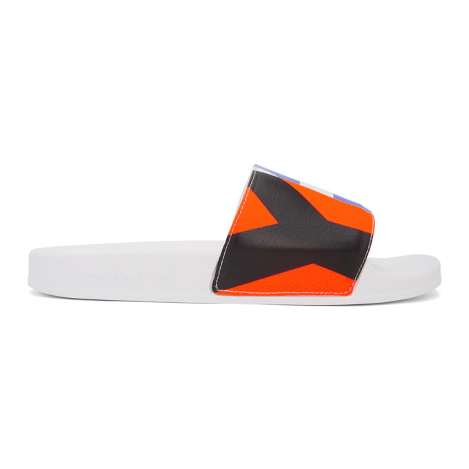 Photo: Y-3 White Graphic Adilette Sandals