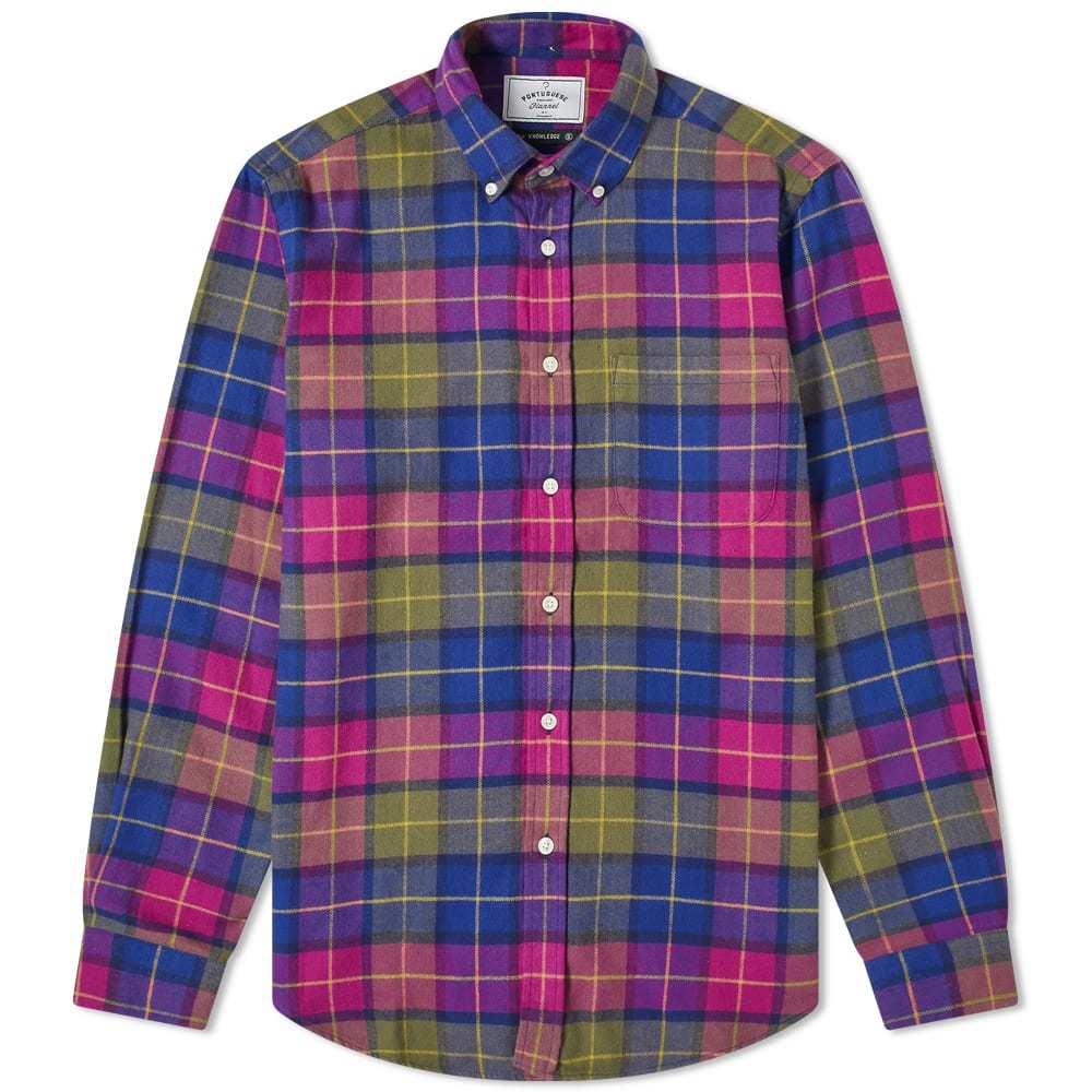 Photo: Portuguese Flannel Button Down Purple Check Shirt