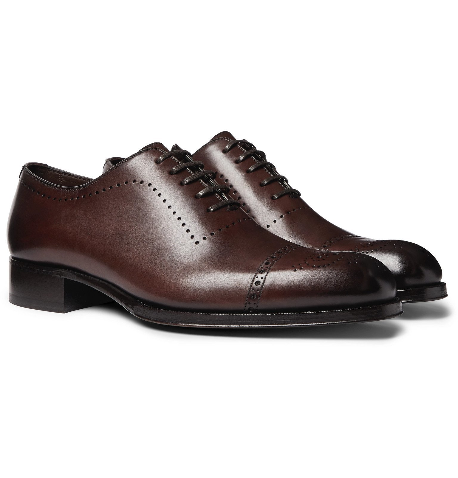 Photo: TOM FORD - Edgar Whole-Cut Polished-Leather Brogues - Brown