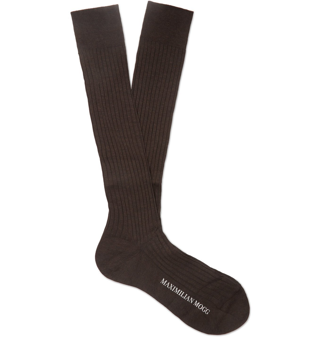 Photo: Maximilian Mogg - Ribbed Fil d'Ecosse Cotton-Blend Socks - Brown