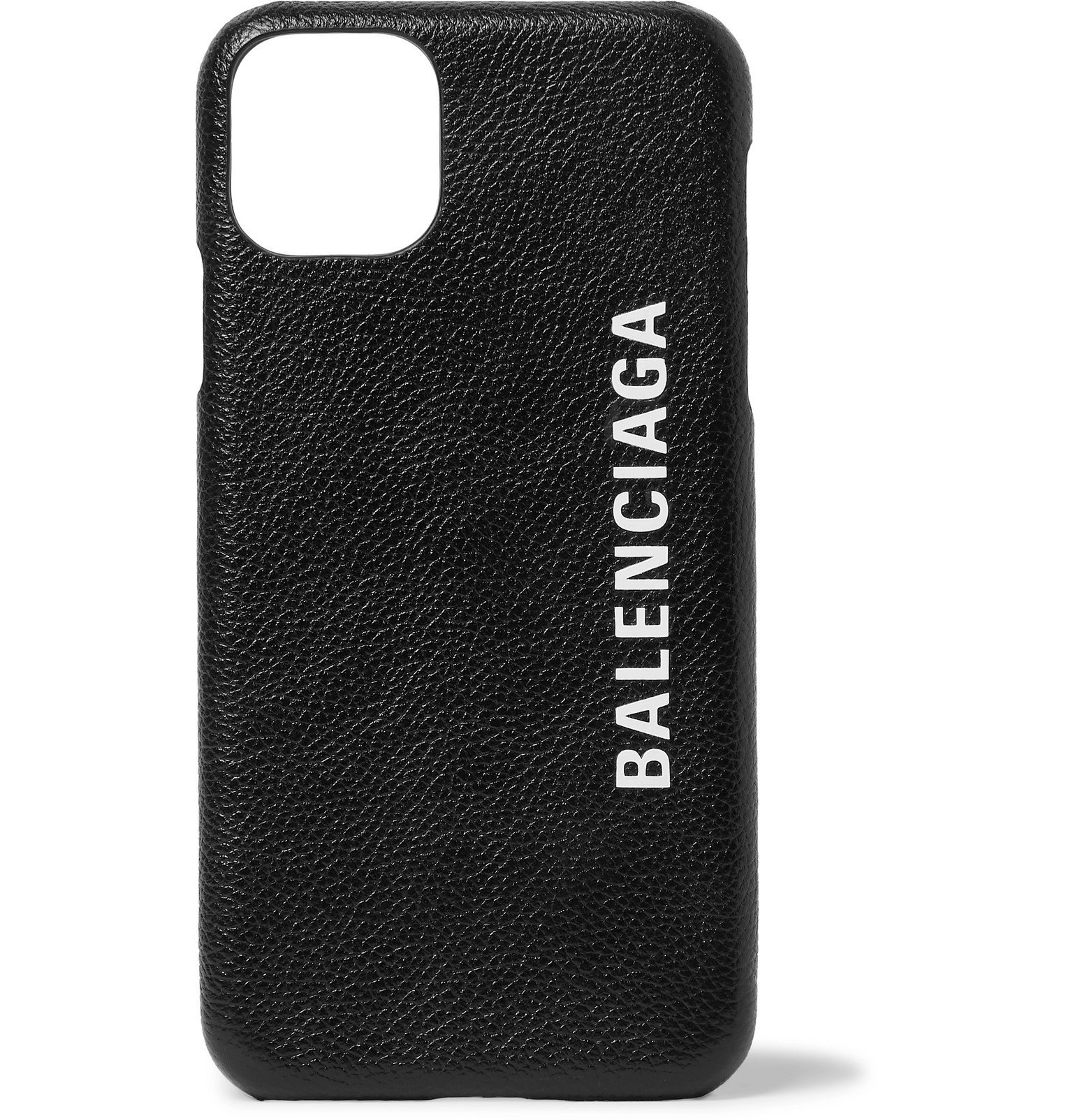 Photo: Balenciaga - Logo-Print Full-Grain Leather iPhone 11 Case - Black