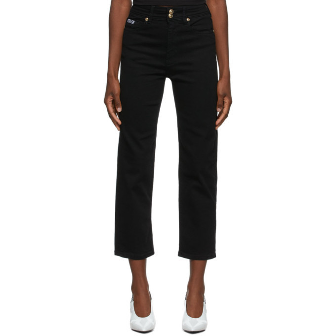 Photo: Versace Jeans Couture Black Embroidered Logo Jeans