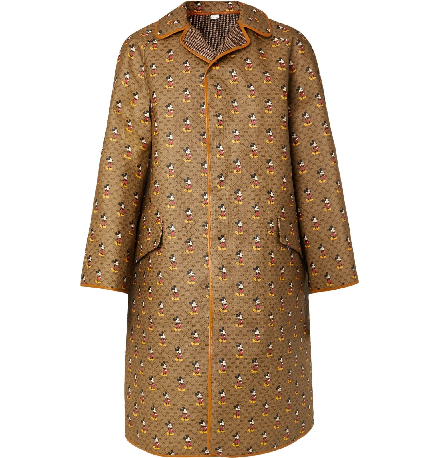 Photo: Gucci - Disney Reversible Leather-Trimmed Printed Coated-Canvas and Wool Coat - Brown