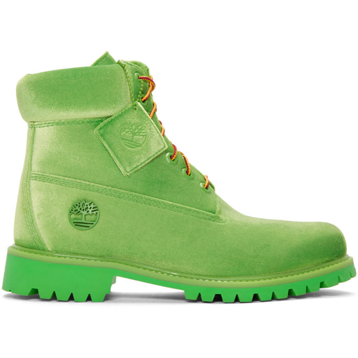 Photo: Off-White Green Timberland Edition 6 Inch Textile Boots