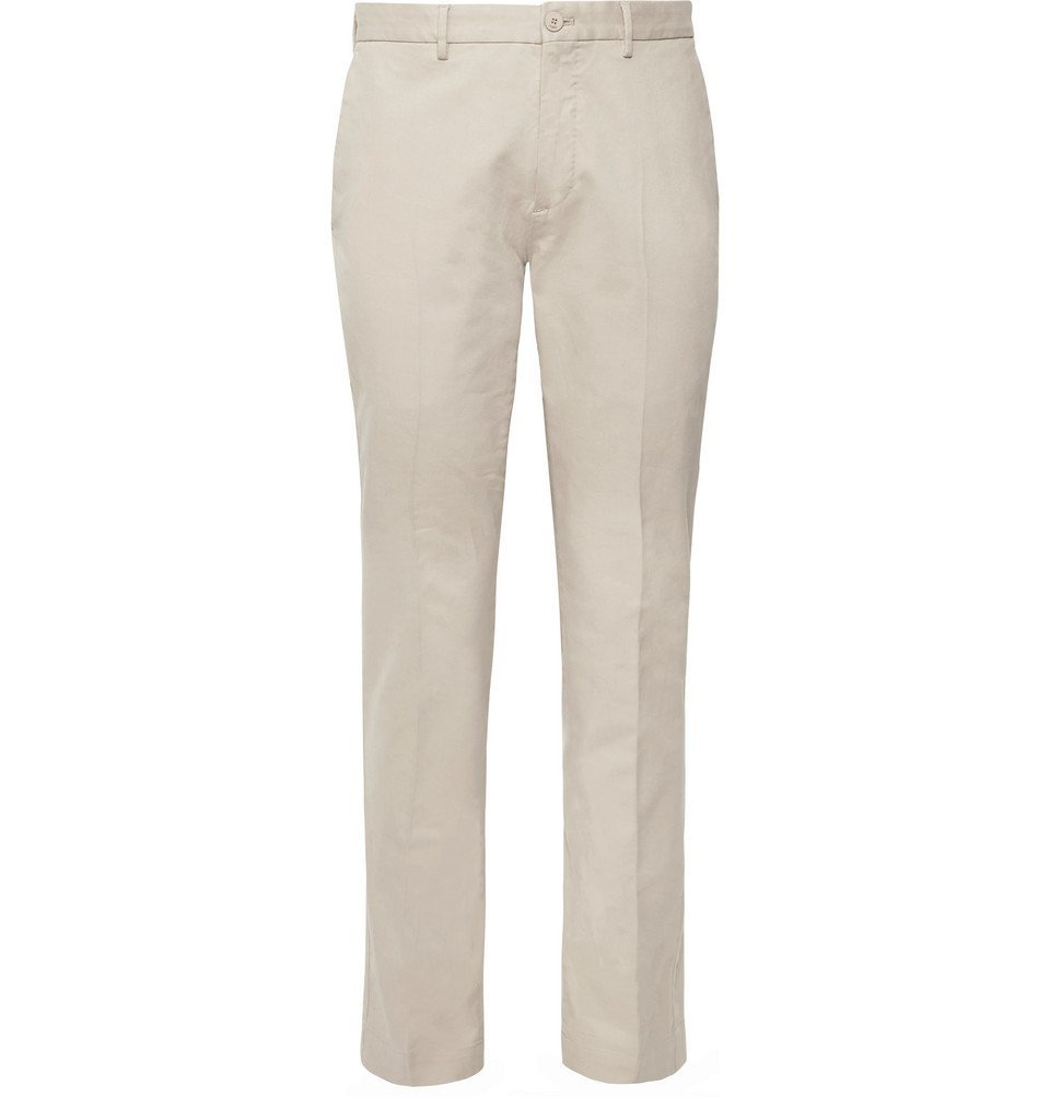 Photo: Incotex - Slim-Fit Stretch-Cotton Twill Trousers - Beige