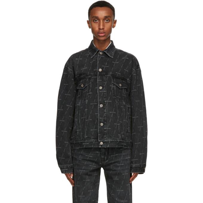 Photo: Balenciaga Black Denim Logo Large Fit Jacket