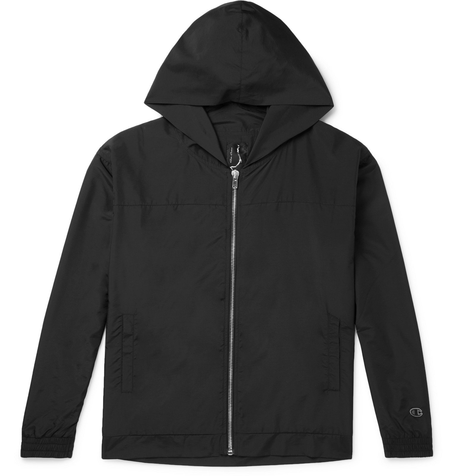 Photo: Rick Owens - Champion Shell Zip-Up Hoodie - Black