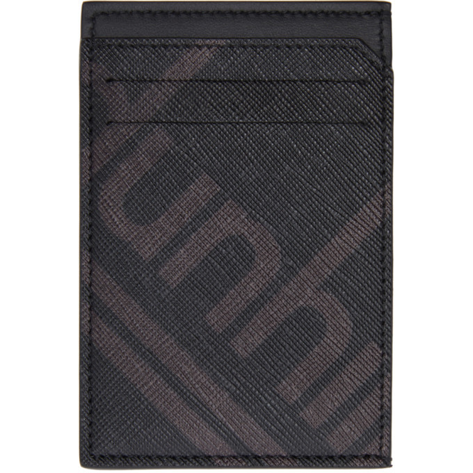 Photo: Dunhill Black Canvas Luggage Card Holder
