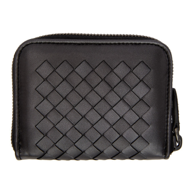 Bottega Veneta Grey Small Intrecciato Zip Around Wallet