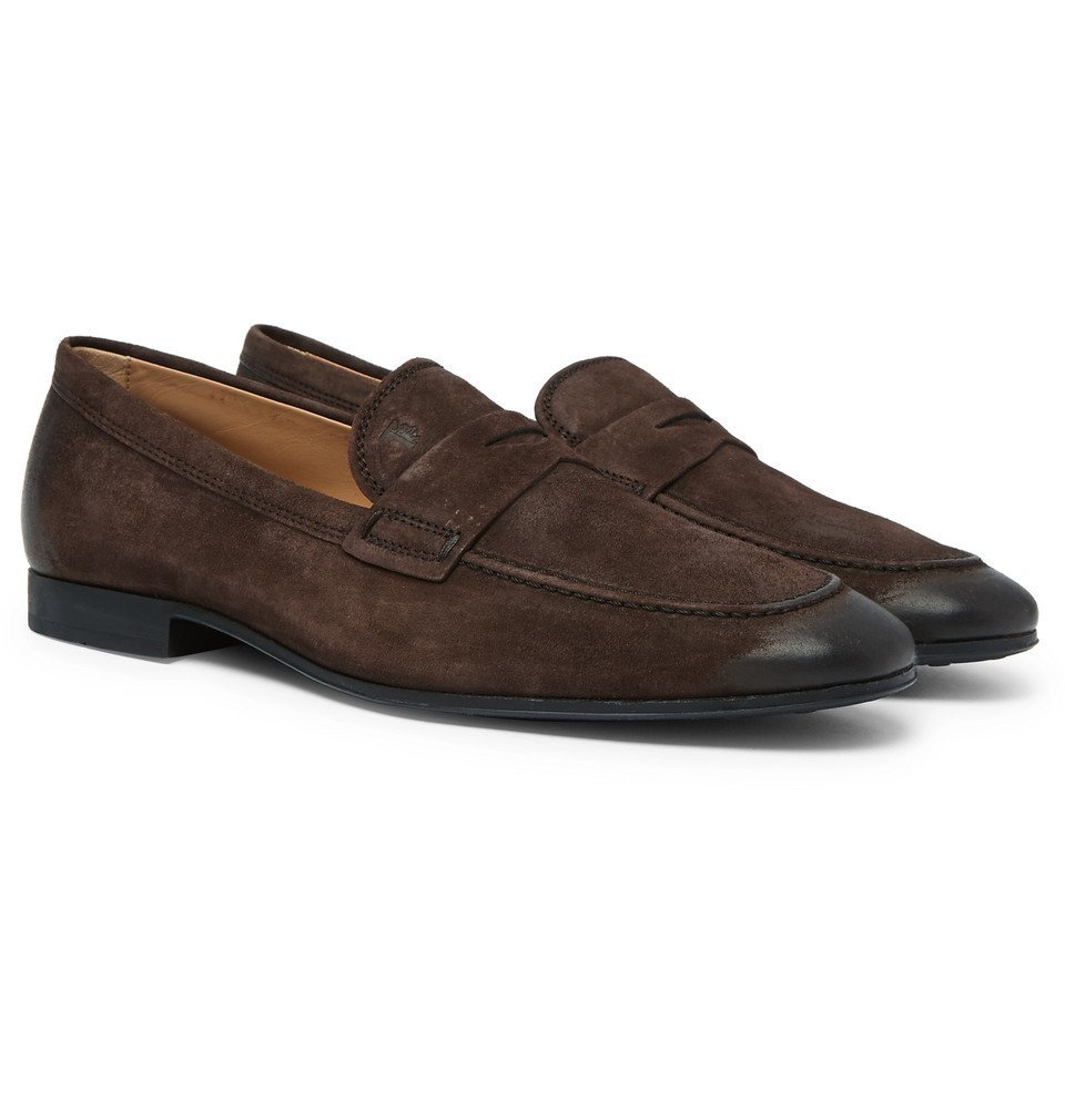 Tod's - Oiled-Suede Loafers - Men - Brown