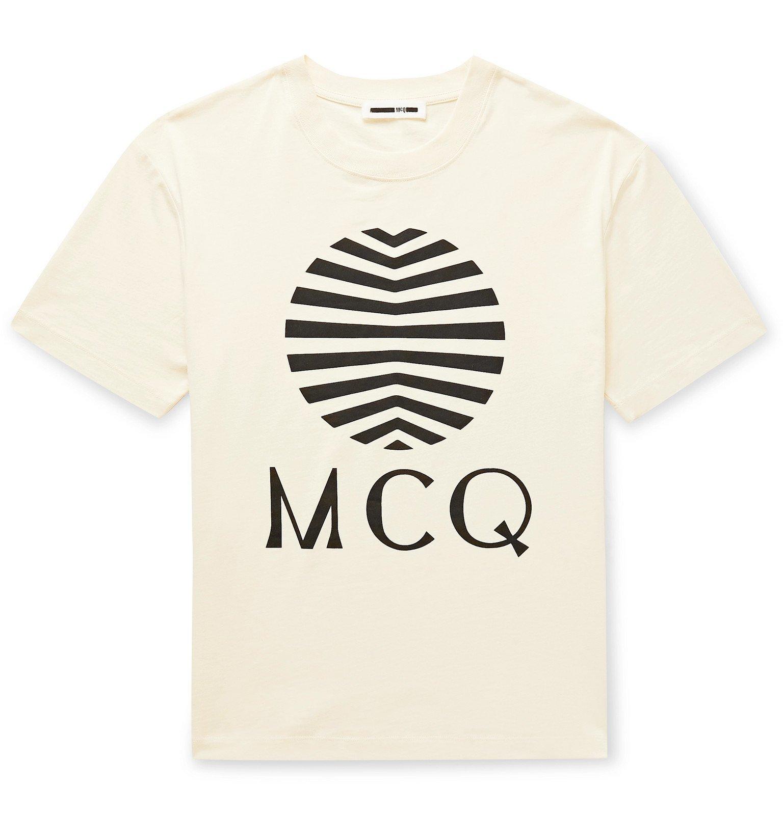 Photo: McQ Alexander McQueen - Printed Cotton-Jersey T-Shirt - Neutrals