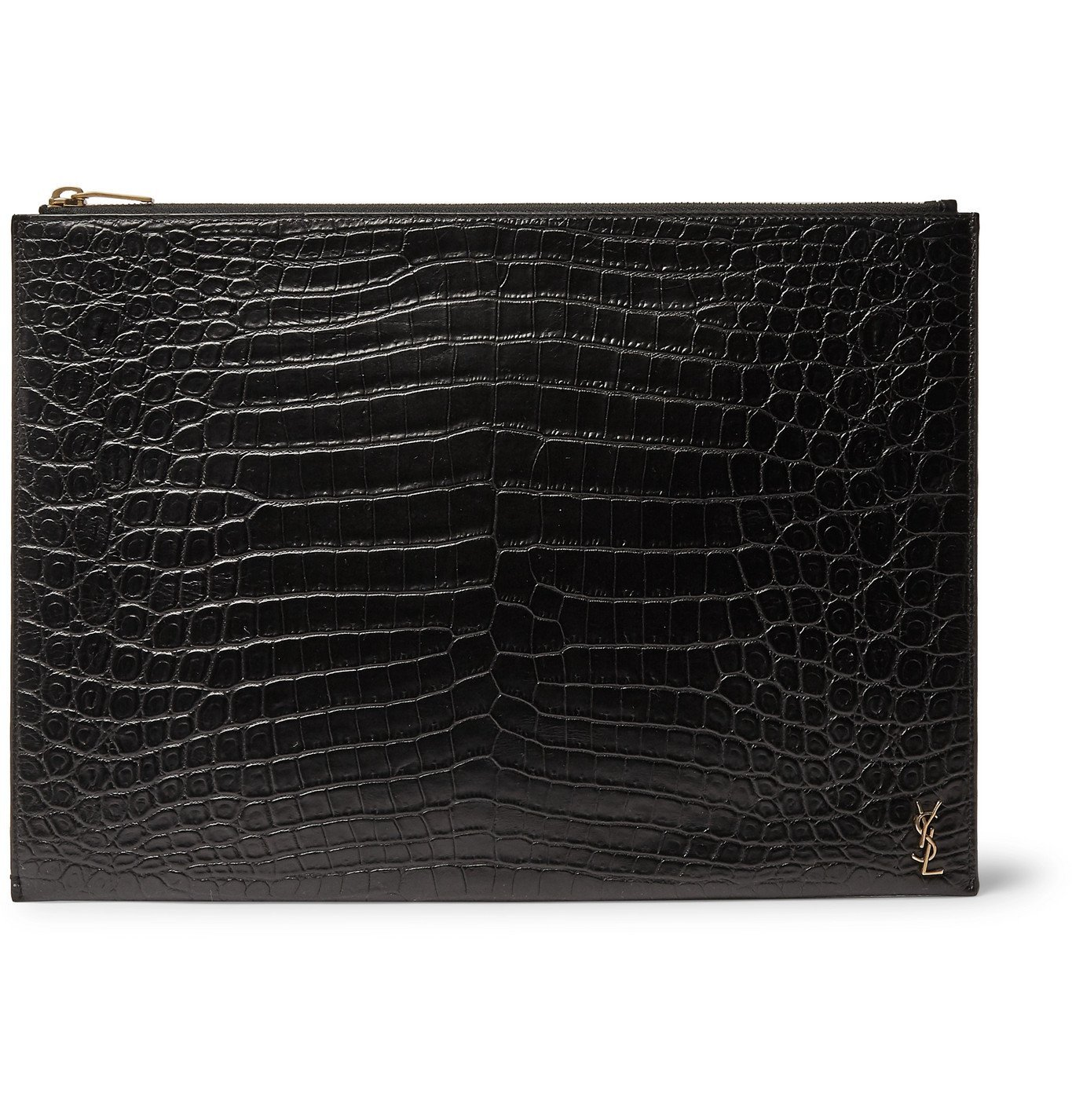 Photo: SAINT LAURENT - Logo-Appliquéd Croc-Effect Leather Pouch - Black