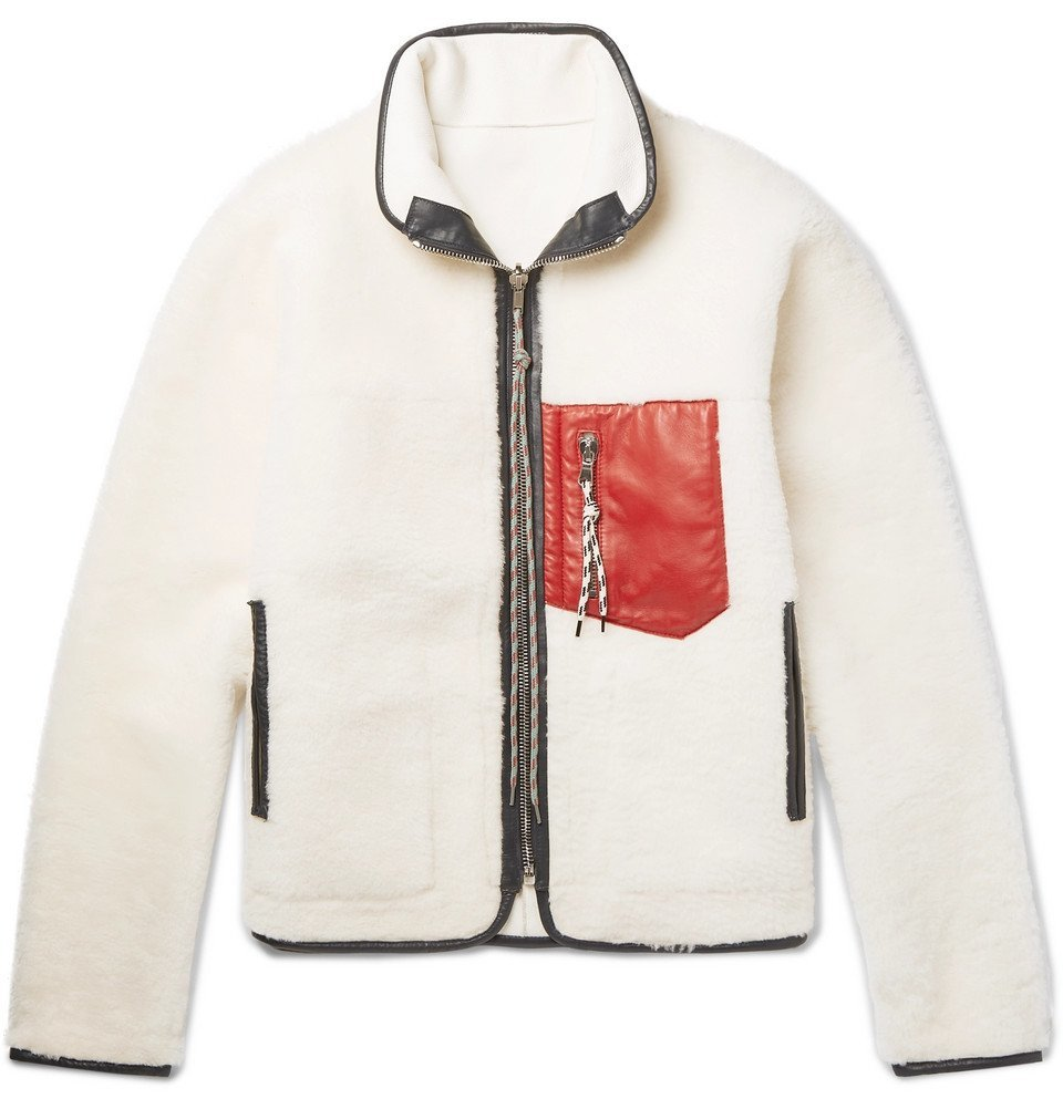 Aries - Pat Reversible Leather-Trimmed Shearling Jacket - Cream