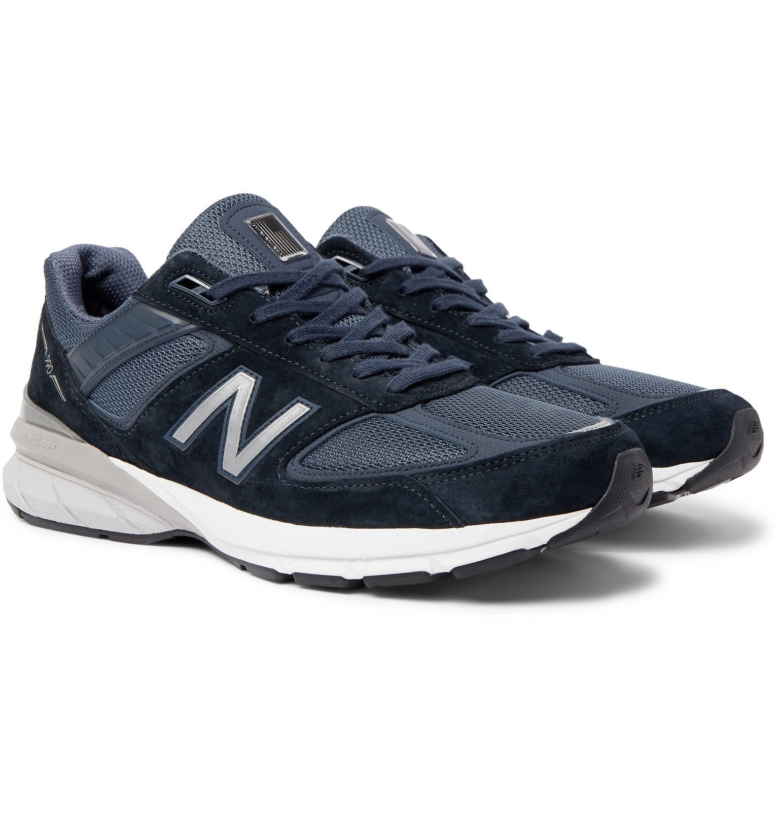 Photo: New Balance - M990V5 Suede and Mesh Sneakers - Blue