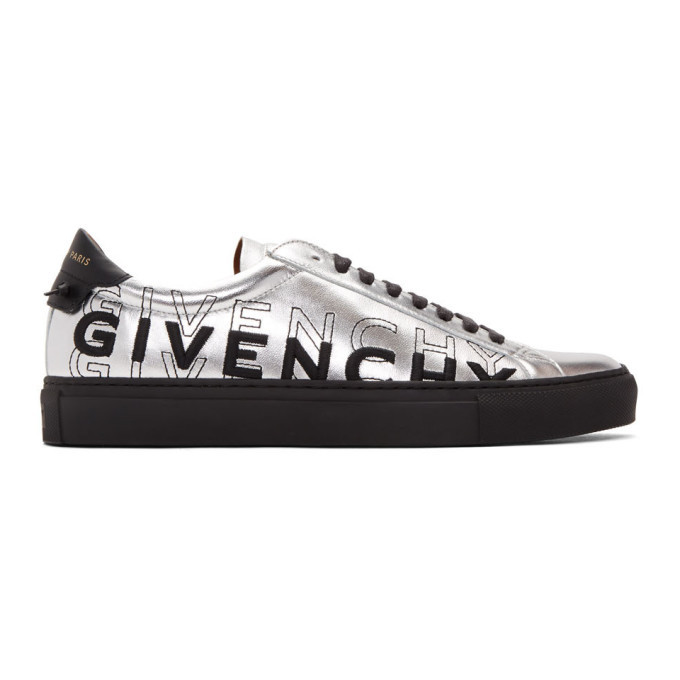 Photo: Givenchy Silver and Black Embroidered Urban Street Sneakers