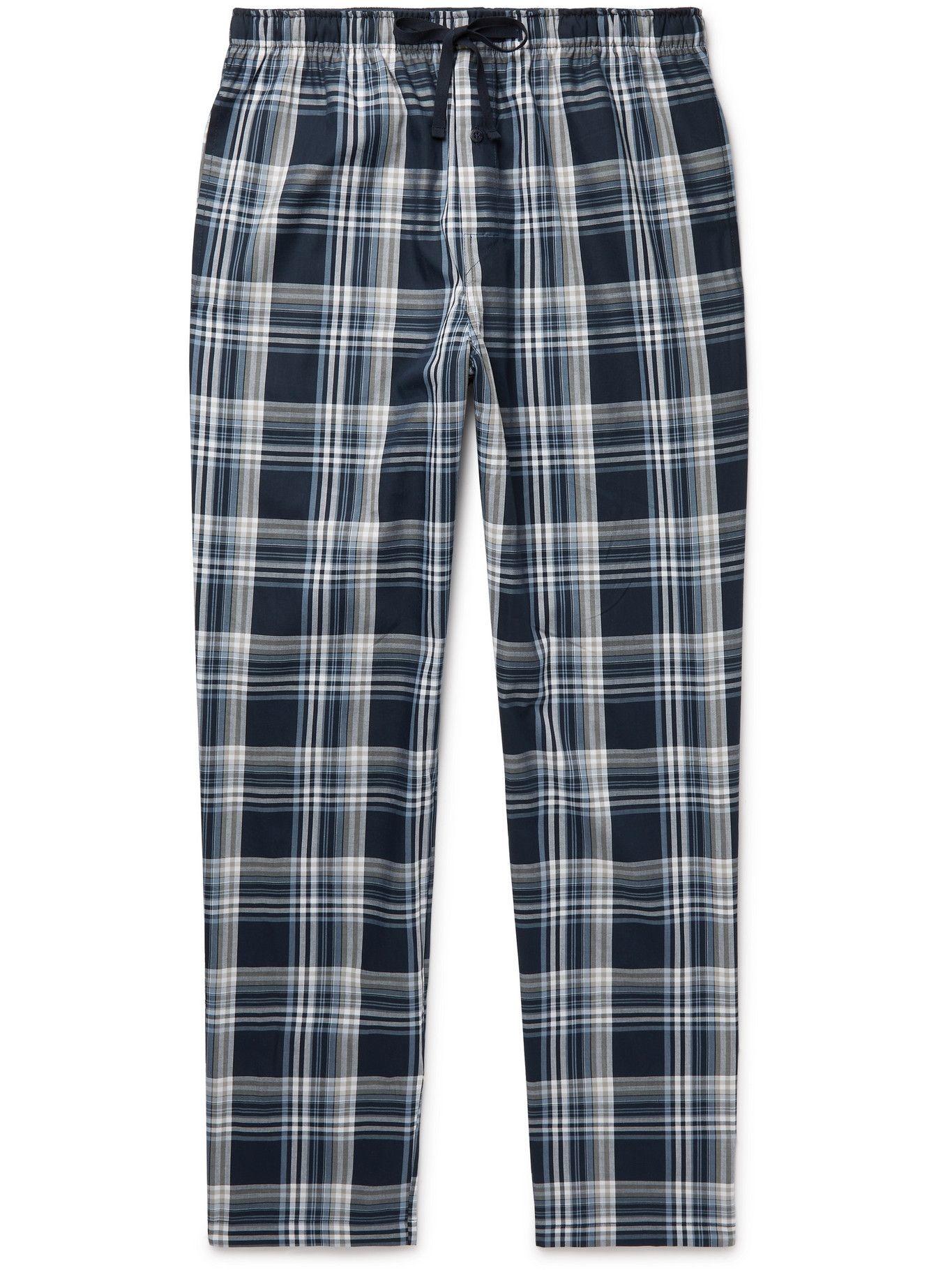 Photo: SCHIESSER - Checked Cotton-Poplin Pyjama Trousers - Blue
