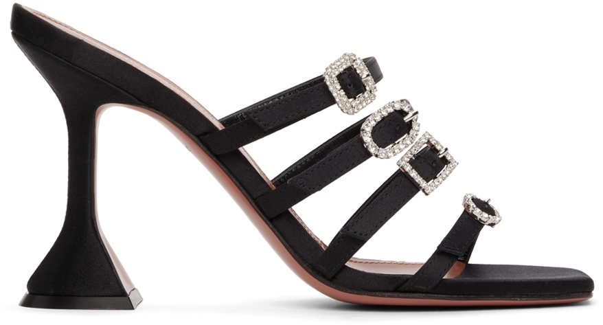 Photo: Amina Muaddi Black Satin Robyn Slipper Heeled Sandals