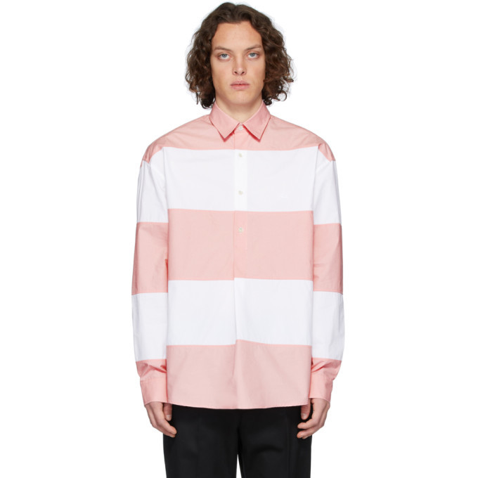 Photo: JW Anderson White and Pink Oversized Panelled Shirt