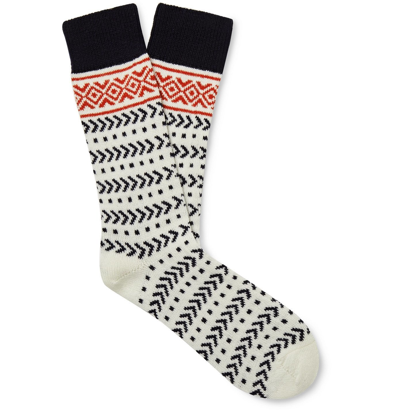 Photo: The Workers Club - Fair Isle Merino Wool-Blend Socks - White