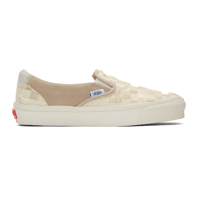 Photo: Vans Off-White and Tan Bricolage Classic Slip-On Sneakers